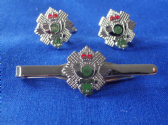 HIGHLAND LIGHT INFANTRY CUFF LINK AND TIE GRIP / CLIP GIFT SET